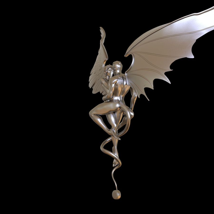 ANGEL AND DEVIL royalty-free 3d model - Preview no. 6
