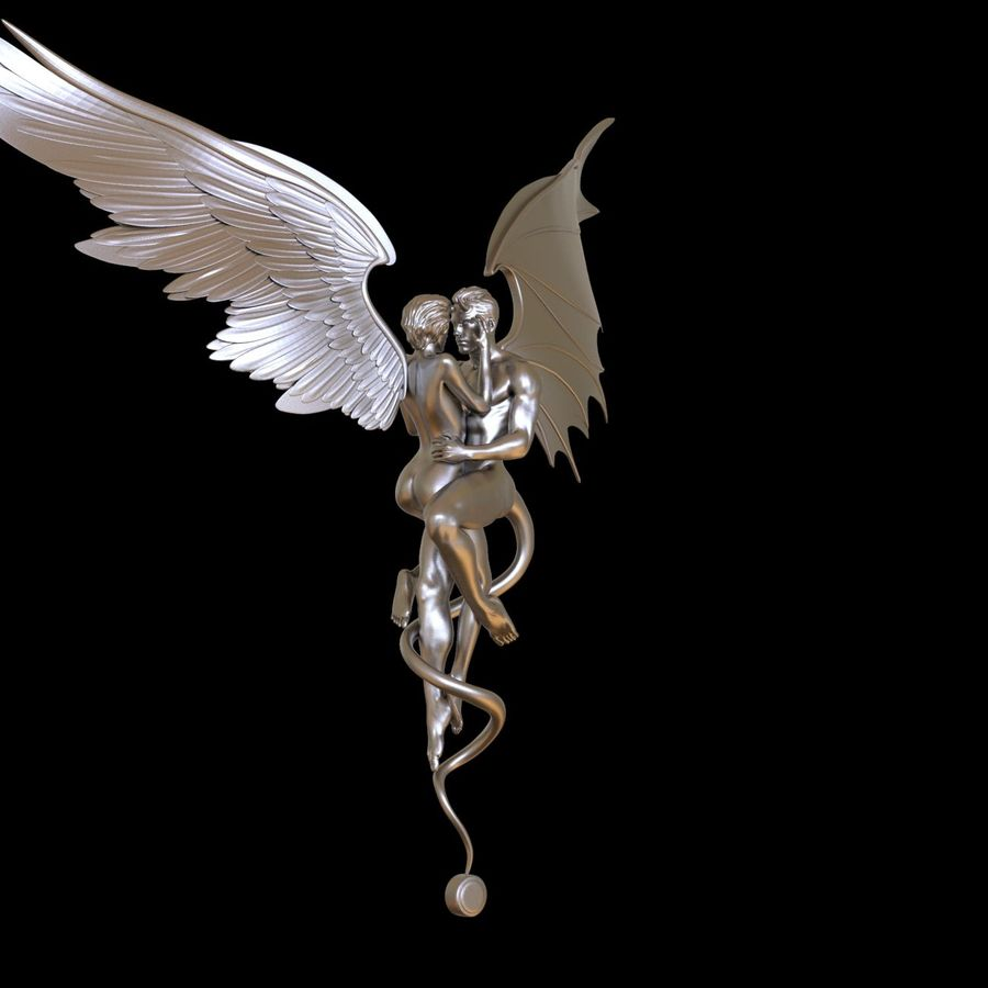 ANGEL AND DEVIL royalty-free 3d model - Preview no. 27