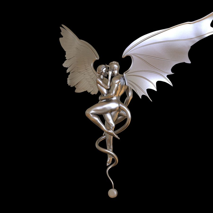 ANGEL AND DEVIL royalty-free 3d model - Preview no. 4