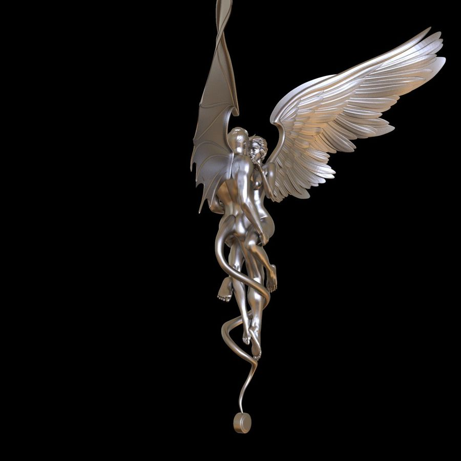 ANGEL AND DEVIL royalty-free 3d model - Preview no. 12