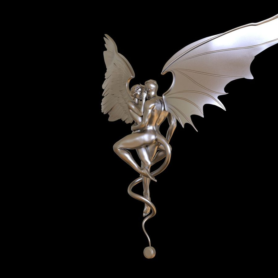 ANGEL AND DEVIL royalty-free 3d model - Preview no. 5