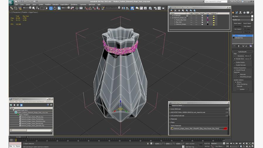 Modern Fashion Diamond shape Vase royalty-free 3d model - Preview no. 14
