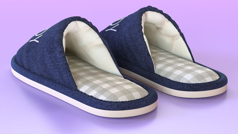Mens Indoor House Slippers royalty-free 3d model - Preview no. 4