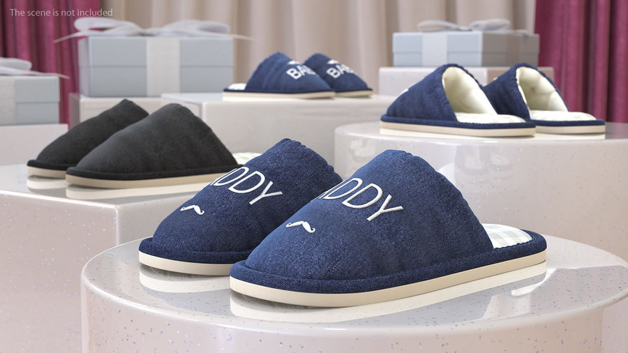 Mens Indoor House Slippers royalty-free 3d model - Preview no. 3