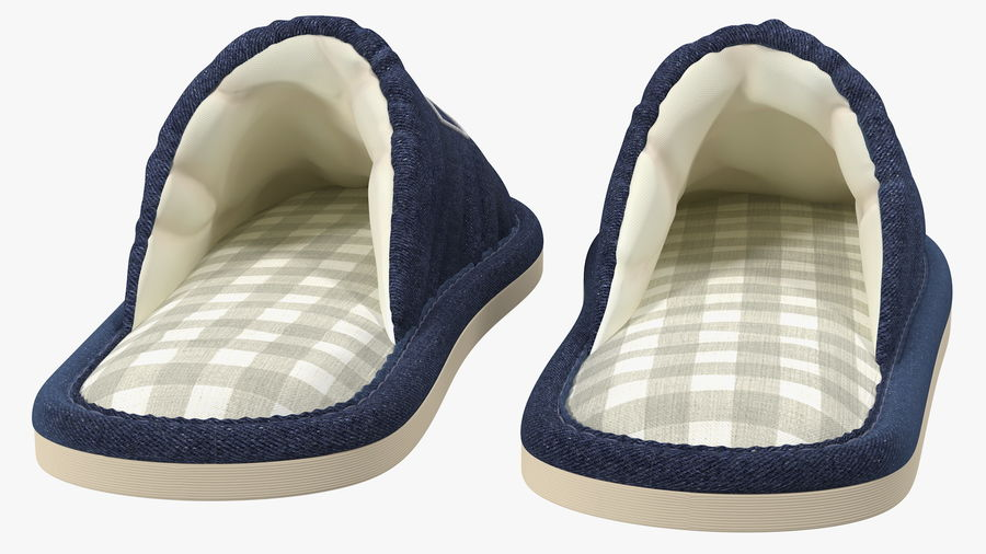 Mens Indoor House Slippers royalty-free 3d model - Preview no. 9