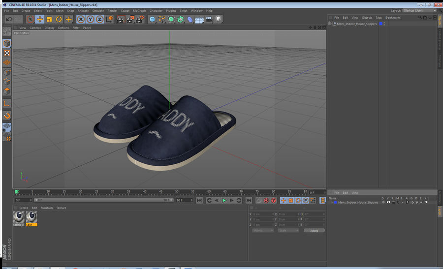 Mens Indoor House Slippers royalty-free 3d model - Preview no. 20
