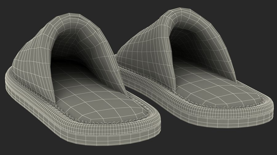Mens Indoor House Slippers royalty-free 3d model - Preview no. 23