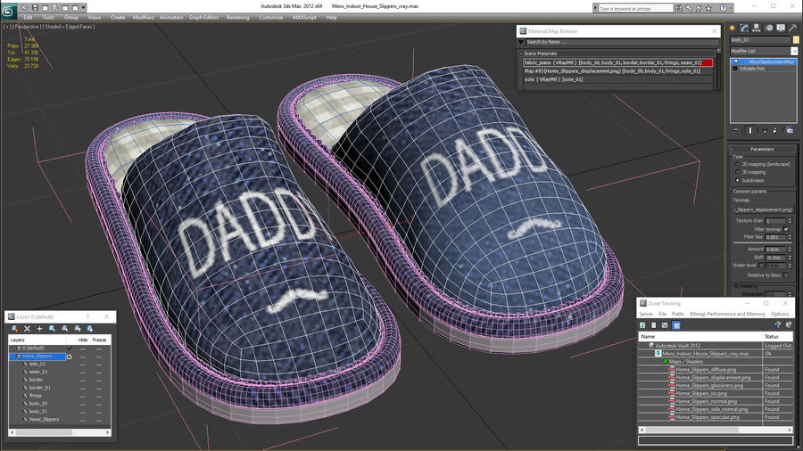 Mens Indoor House Slippers royalty-free 3d model - Preview no. 21