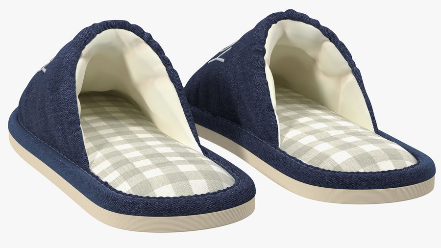 Mens Indoor House Slippers royalty-free 3d model - Preview no. 8