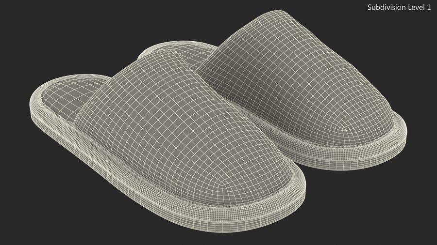 Mens Indoor House Slippers royalty-free 3d model - Preview no. 16