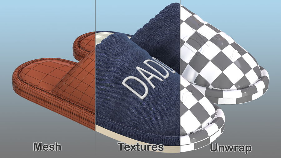 Mens Indoor House Slippers royalty-free 3d model - Preview no. 14
