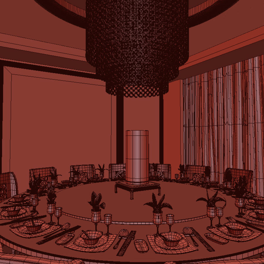 Chinese restaurant royalty-free 3d model - Preview no. 3