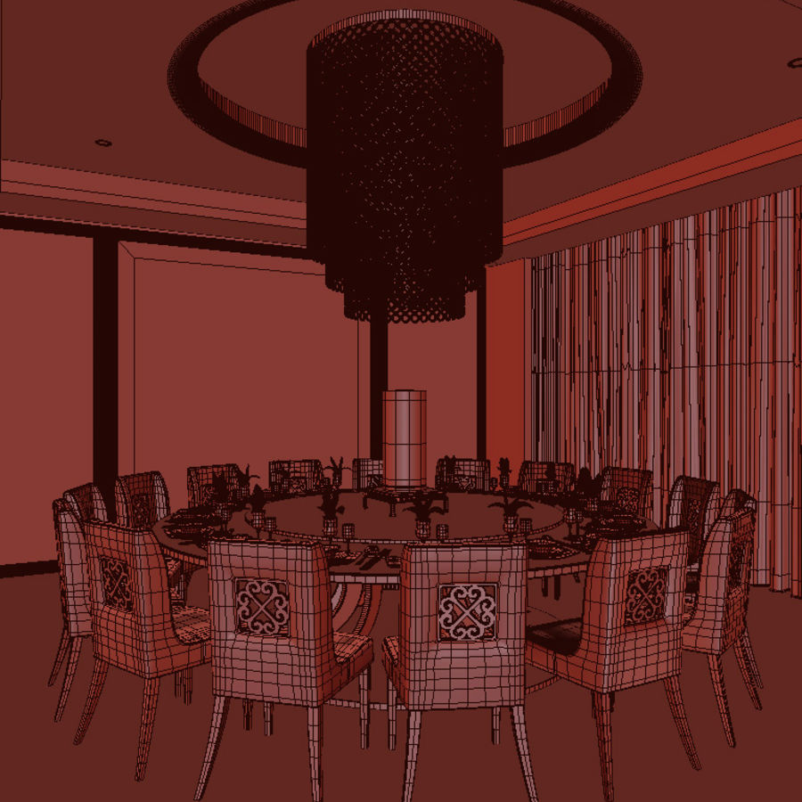 Chinese restaurant royalty-free 3d model - Preview no. 4