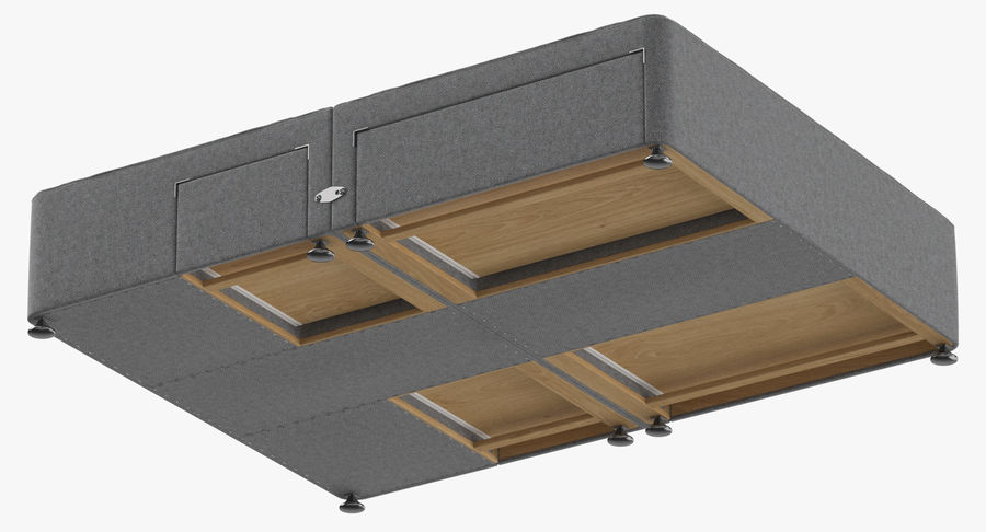 Bed Base 08 Grey royalty-free 3d model - Preview no. 9