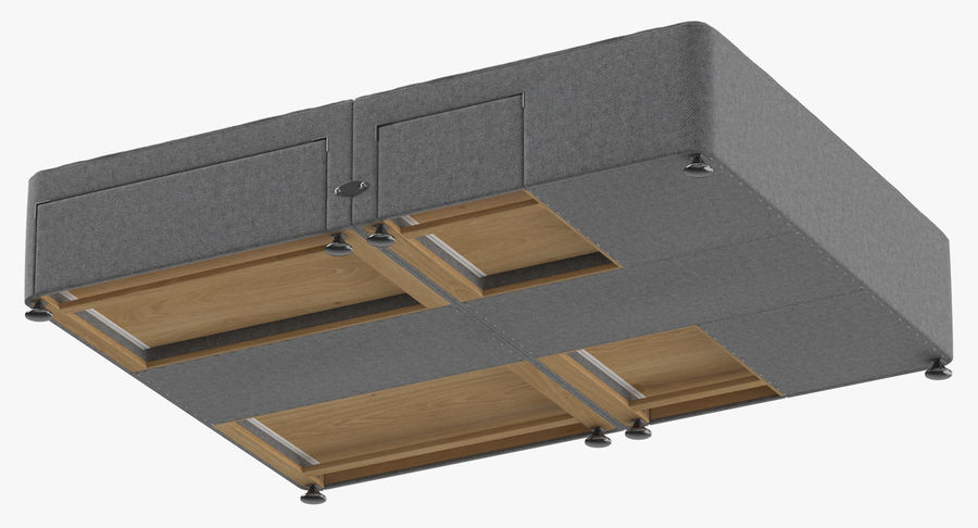 Bed Base 08 Grey royalty-free 3d model - Preview no. 8