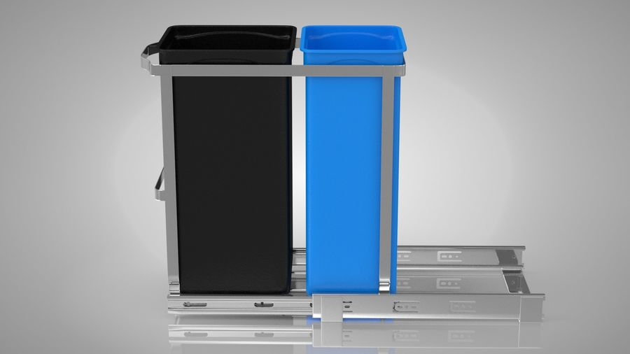Pullout Trash Can royalty-free 3d model - Preview no. 3