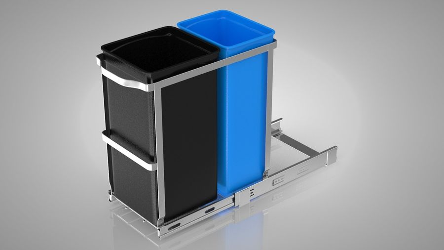 Pullout Trash Can royalty-free 3d model - Preview no. 2