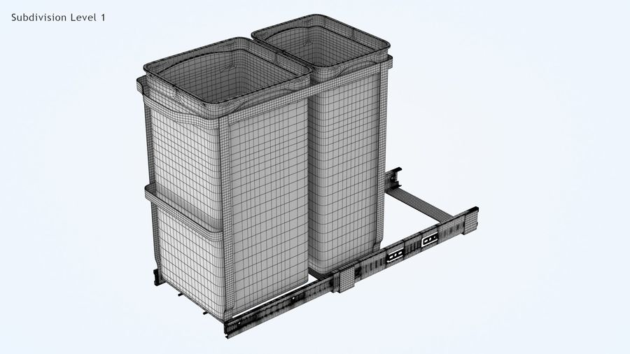 Pullout Trash Can royalty-free 3d model - Preview no. 8