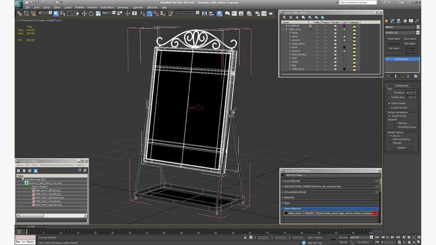 Spegel för toalettbord royalty-free 3d model - Preview no. 14