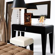 Coiffeuse et chaise table lampe banc de rideau afficher ensemble complet modèle 3d 3d model