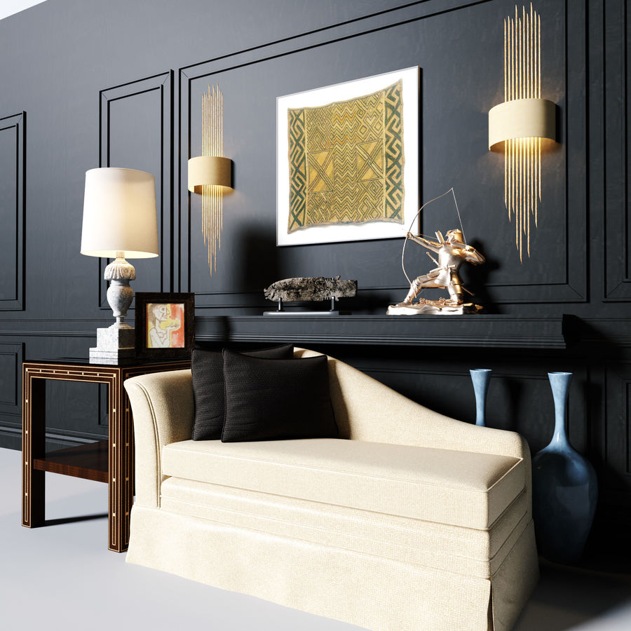 Sofa tea see table lamp wall lamp decoration command 3d model royalty-free 3d model - Preview no. 2