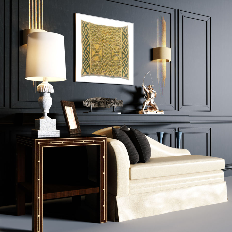 Sofa tea see table lamp wall lamp decoration command 3d model royalty-free 3d model - Preview no. 1
