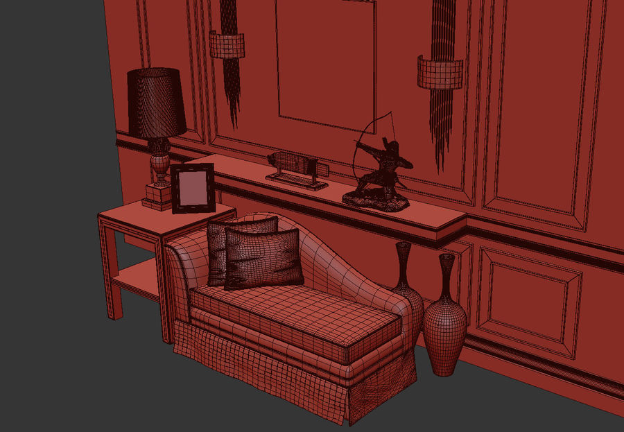 Sofa tea see table lamp wall lamp decoration command 3d model royalty-free 3d model - Preview no. 5