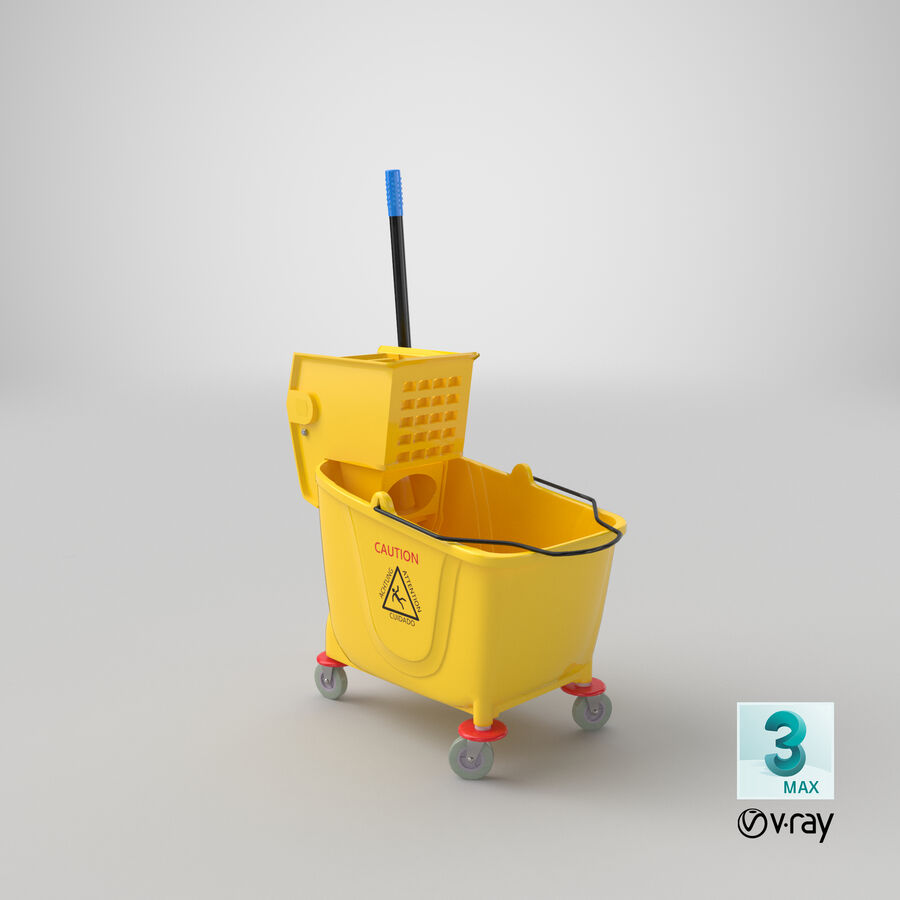 Janitor Bucket royalty-free 3d model - Preview no. 25