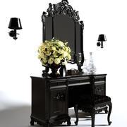 Toalettbord och bänk vägglampa vas spegel 3D-modell 3d model