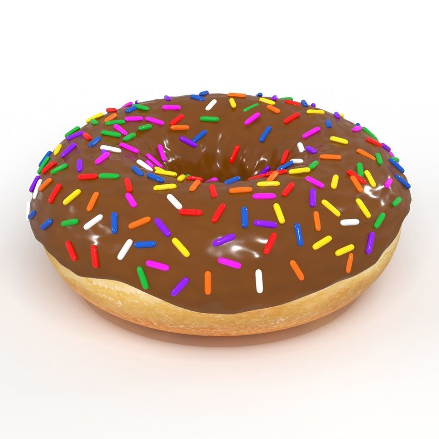 Chocolate Donut 3D Model royalty-free 3d model - Preview no. 1