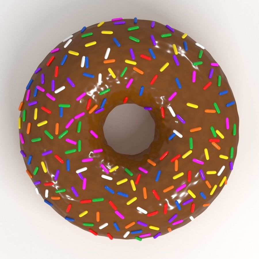 Chocolate Donut 3D Model royalty-free 3d model - Preview no. 2