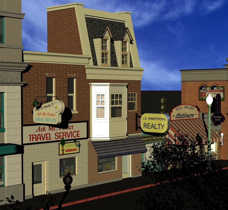 Hill Valley Ask Mr. Foster Travel Agent & J.D. Armstrong Realty royalty-free 3d model - Preview no. 1