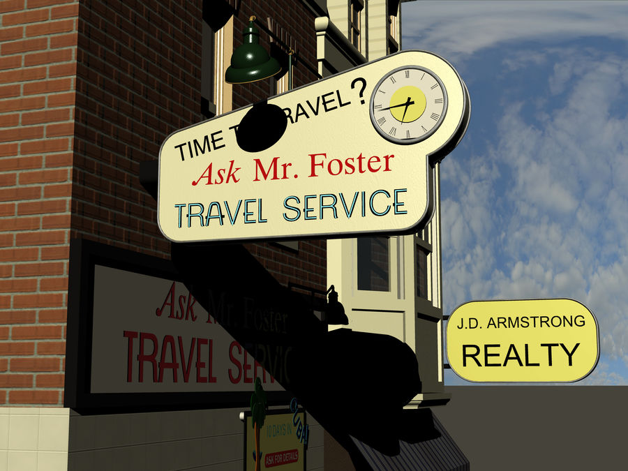 Hill Valley Ask Mr. Foster Travel Agent & J.D. Armstrong Realty royalty-free 3d model - Preview no. 6