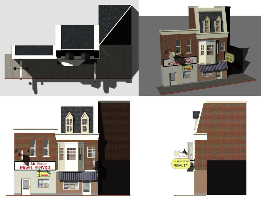 Hill Valley Ask Mr. Foster Travel Agent & J.D. Armstrong Realty royalty-free 3d model - Preview no. 12