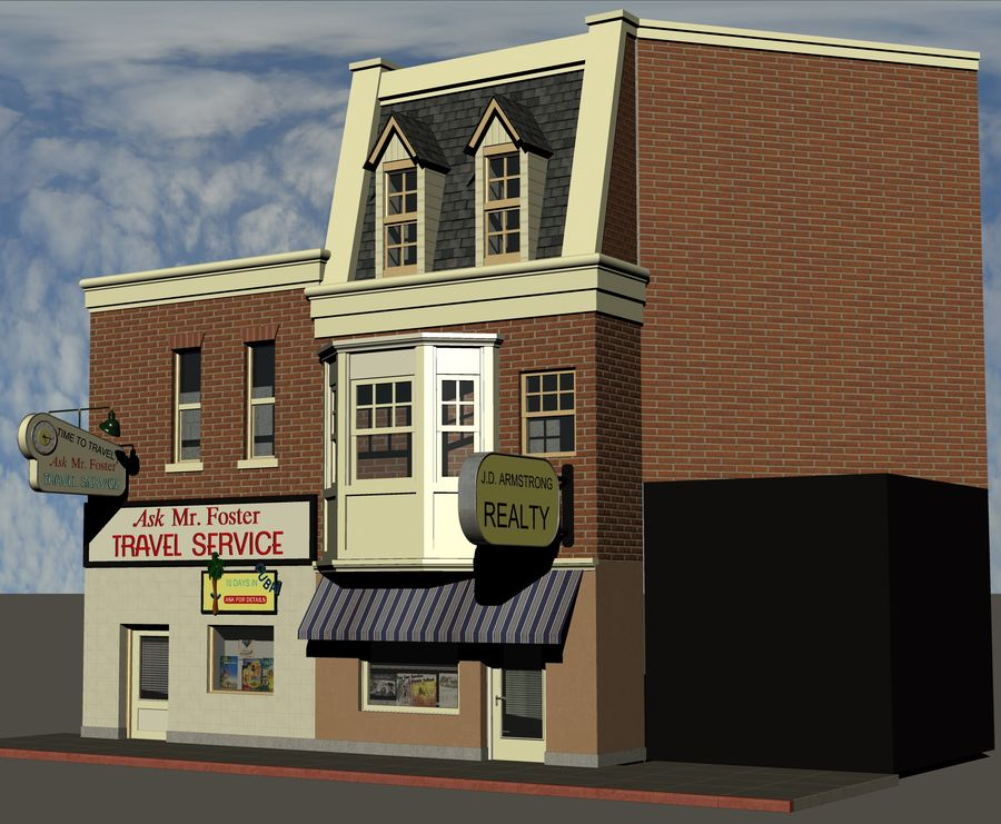 Hill Valley Ask Mr. Foster Travel Agent & J.D. Armstrong Realty royalty-free 3d model - Preview no. 2