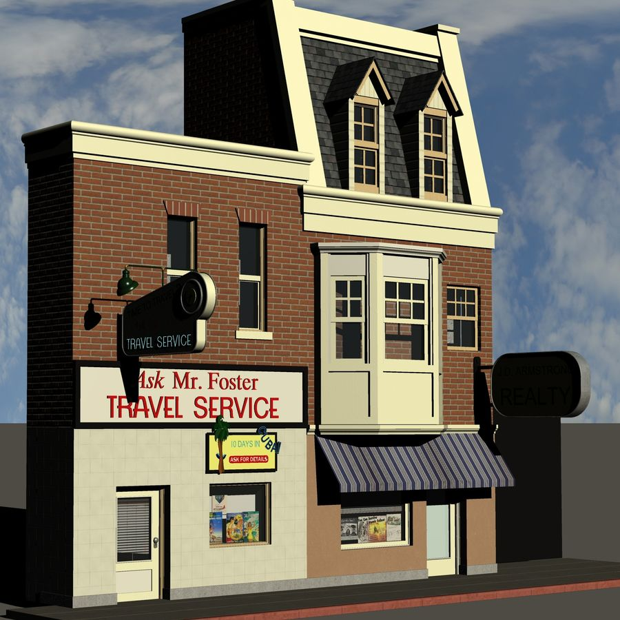 Hill Valley Ask Mr. Foster Travel Agent & J.D. Armstrong Realty royalty-free 3d model - Preview no. 3
