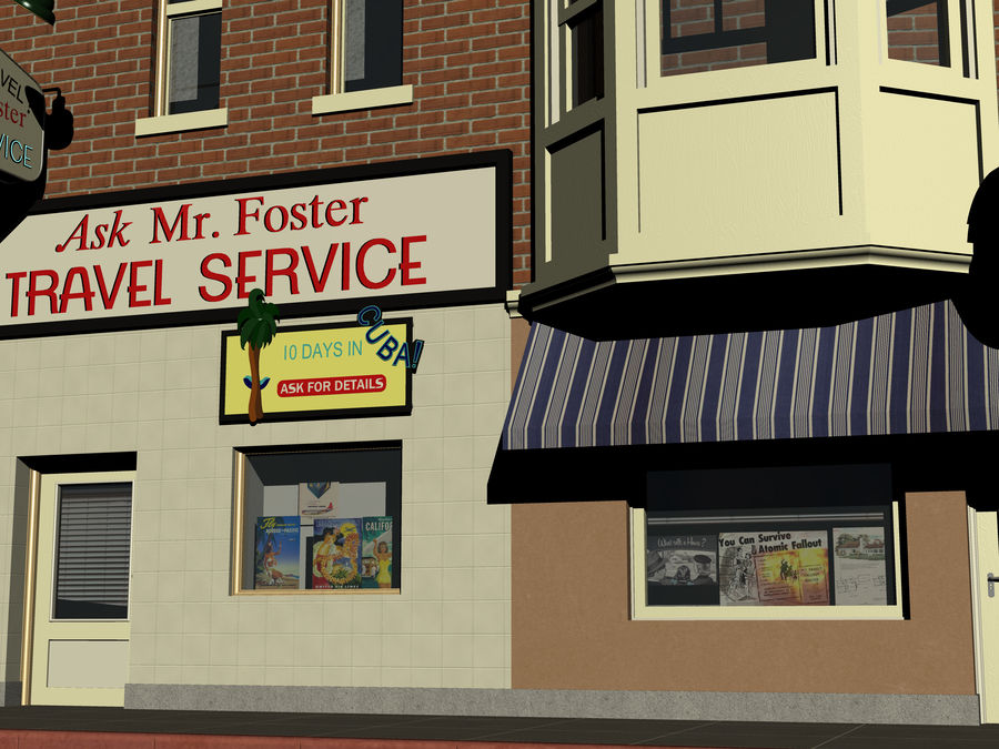 Hill Valley Ask Mr. Foster Travel Agent & J.D. Armstrong Realty royalty-free 3d model - Preview no. 5