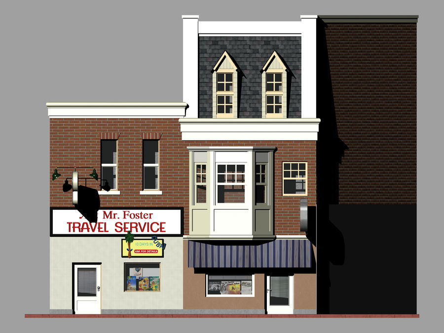 Hill Valley Ask Mr. Foster Travel Agent & J.D. Armstrong Realty royalty-free 3d model - Preview no. 7