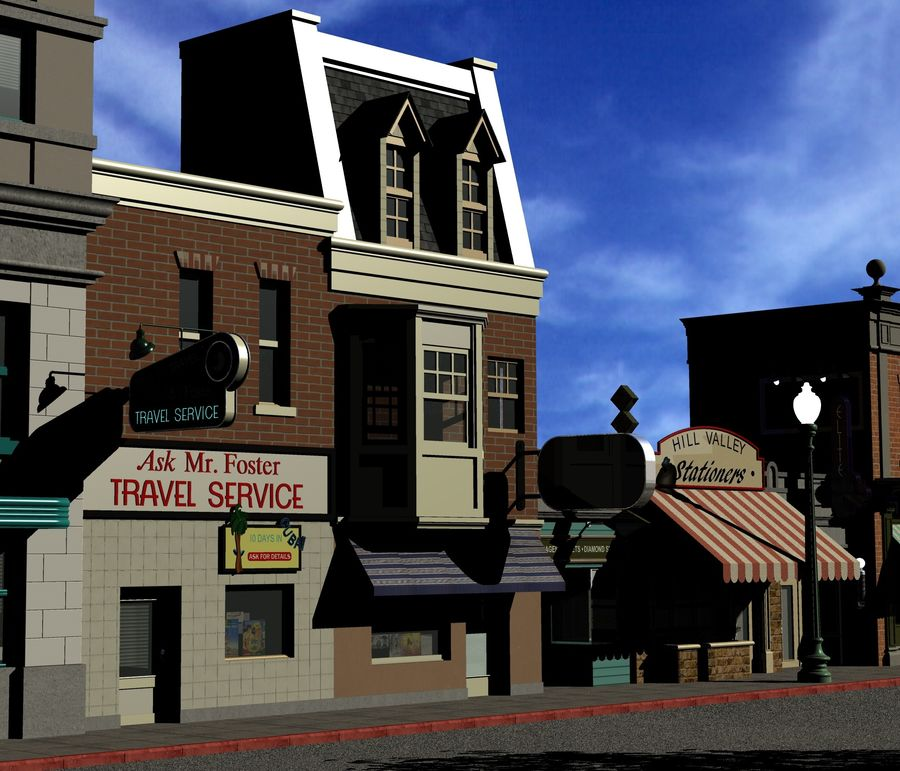 Hill Valley Ask Mr. Foster Travel Agent & J.D. Armstrong Realty royalty-free 3d model - Preview no. 4