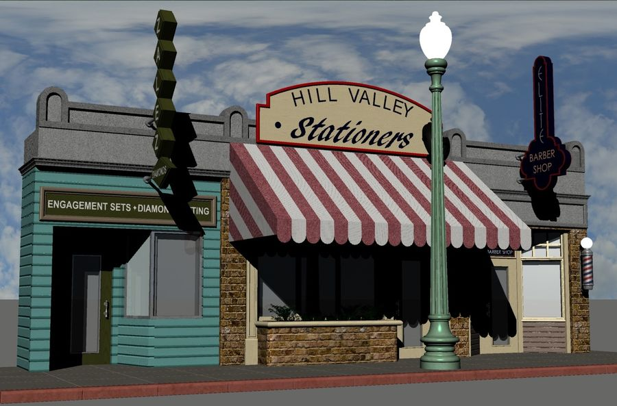 Hill Valley - Zalez Diamonds, Hill Valley Stationers & Elite Barbers royalty-free 3d model - Preview no. 1