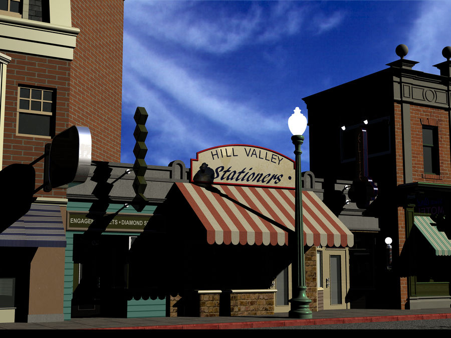 Hill Valley - Zalez Diamonds, Hill Valley Stationers & Elite Barbers royalty-free 3d model - Preview no. 4