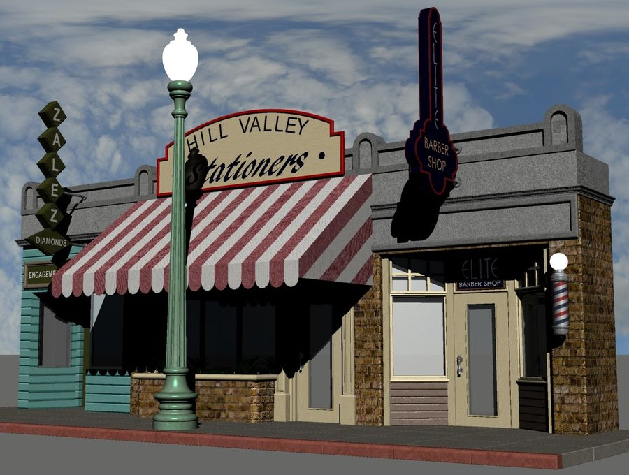 Hill Valley - Zalez Diamonds, Hill Valley Stationers & Elite Barbers royalty-free 3d model - Preview no. 2