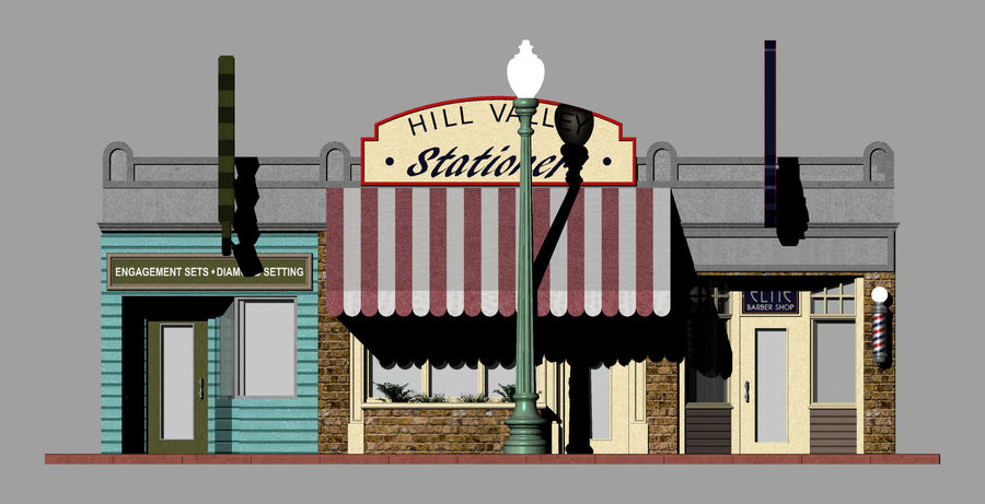 Hill Valley - Zalez Diamonds, Hill Valley Stationers & Elite Barbers royalty-free 3d model - Preview no. 5