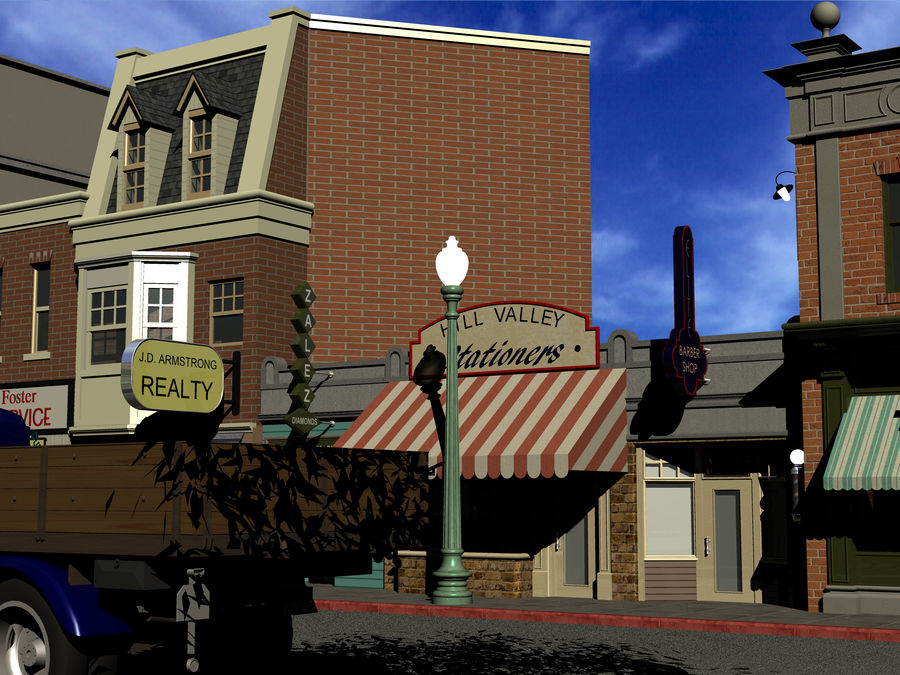 Hill Valley - Zalez Diamonds, Hill Valley Stationers & Elite Barbers royalty-free 3d model - Preview no. 3