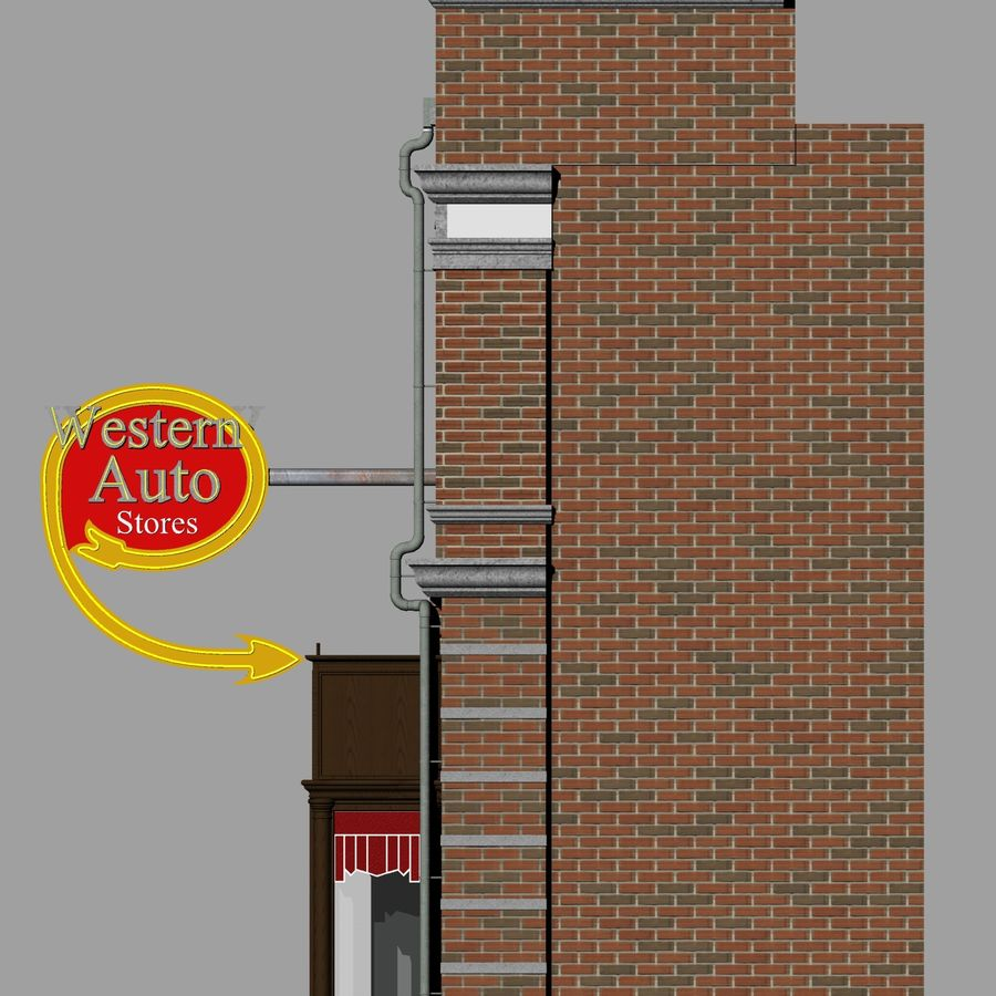 Hill Valley - Western Auto Stores royalty-free 3d model - Preview no. 6