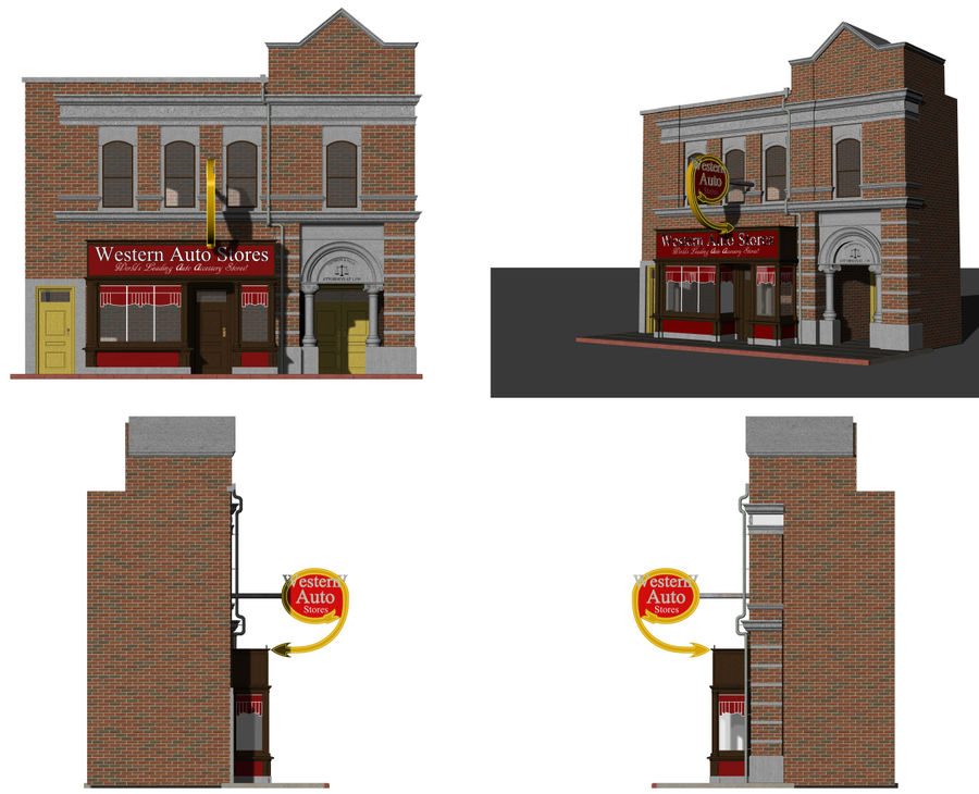 Hill Valley - Western Auto Stores royalty-free 3d model - Preview no. 9