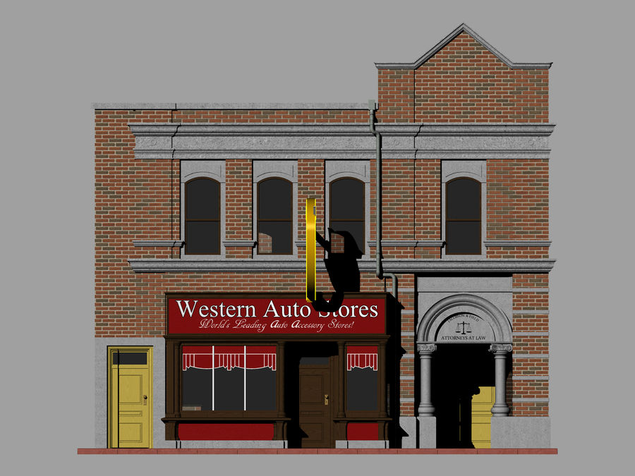 Hill Valley - Western Auto Stores royalty-free 3d model - Preview no. 4