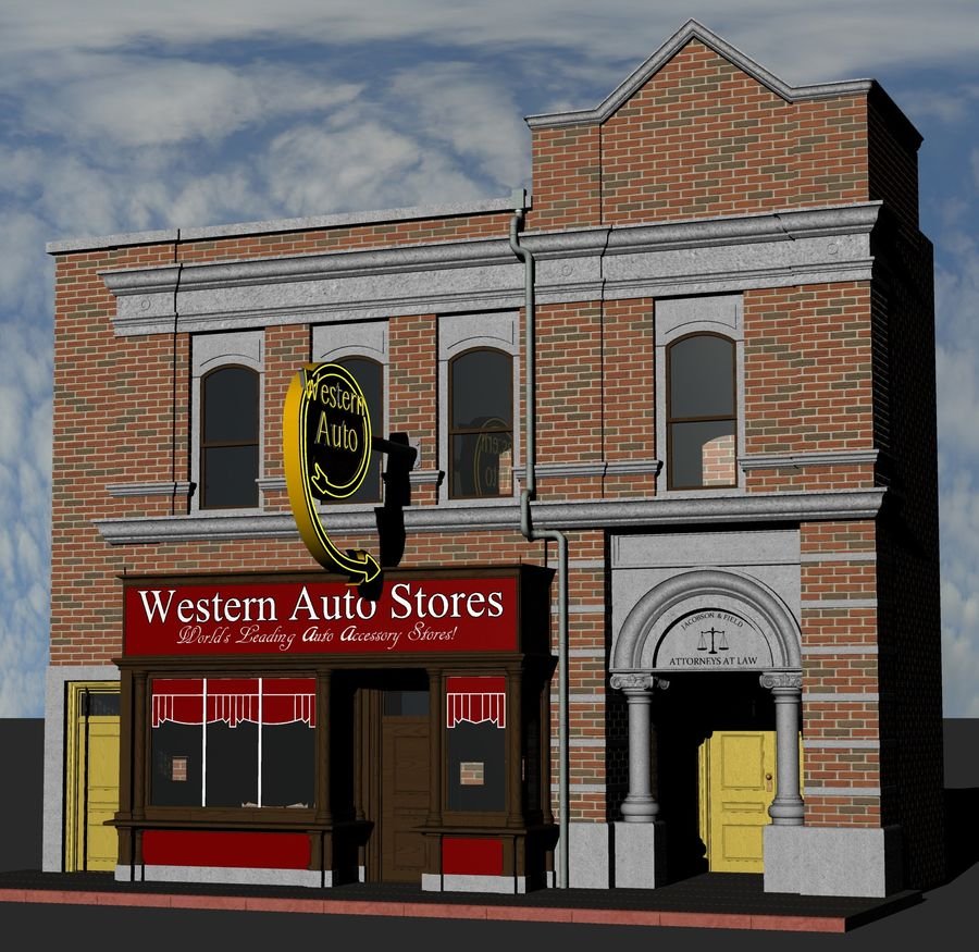 Hill Valley - Western Auto Stores royalty-free 3d model - Preview no. 2