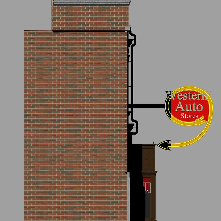 Hill Valley - Western Auto Stores royalty-free 3d model - Preview no. 5