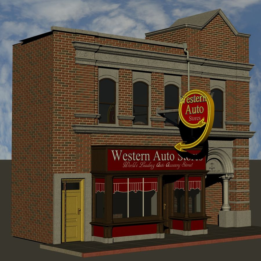 Hill Valley - Western Auto Stores royalty-free 3d model - Preview no. 3